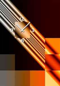 4328 Dixtime Designer Wanduhr, Wanduhren, Moderne Wohnraumuhr 50cm x 70cm  | Modern  | Brauntöne  | geräuschlose Wanduhr