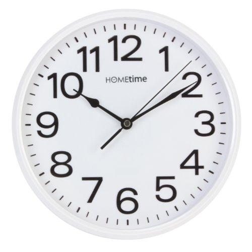 Hometime Klassische Quarz-Wanduhr, geräuschlos | Klassisch | Weiß |