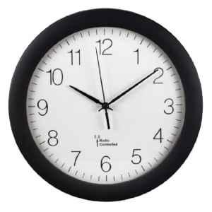 Hama Küchenuhr Funk-Wanduhr  | Modern  | schwarz    | automatische Zeitanpassung und Zeitumstellung