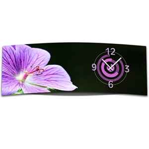 Wanduhr XXL 3D Optik Dixtime lila Orchidee 30x90 cm leises Uhrwerk GL-012  | Abstrakt    | Lila  | geräuschlose Wanduhr