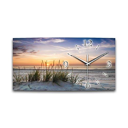 Düne Sandstrand Meer Relax XXL Designer leise Funk Wanduhr Funkuhr modernes Design * Made in Germany* WA013FL (50x25cm) | Modern | geräuschlose Wanduhr