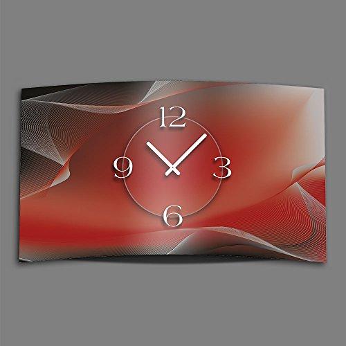 Abstrakt rot grau Designer Wanduhr modernes Wanduhren Design leise kein ticken dixtime 3D-0145 | Modern | Rot | Grau | geräuschlose Wanduhr