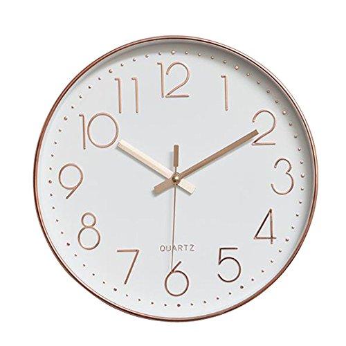 Dobess 12 Zoll Modern Quartz Lautlos Wanduhr Schleichende Sekunde | Modern | Rosegold |