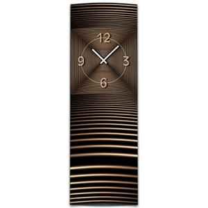 Wanduhr XXL 3D Optik Dixtime abstrakt bronze 30x90 cm hochkant leises Uhrwerk GL-007H  | Abstrakt   | Bronze  | geräuschlose Wanduhr