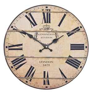 Wanduhr - London 1879 - Holz Küchenuhr mit großem Ziffernblatt  | Retro   | mit großem Ziffernblatt