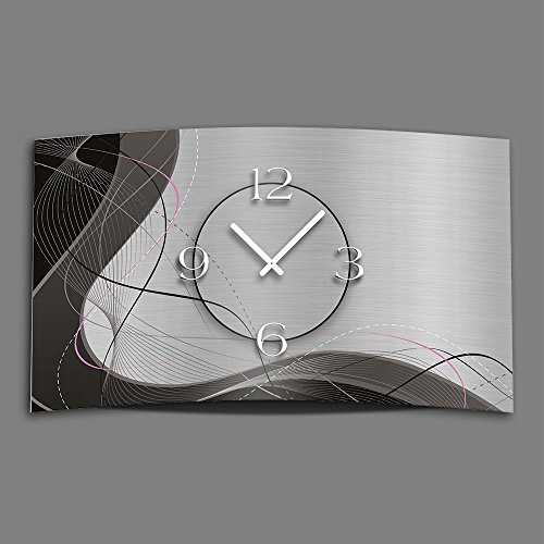 Abstrakt grau Designer Wanduhr modernes Wanduhren Design leise kein ticken dixtime 3D-0053 | Abstrakt | Silber | Grau | geräuschlose Wanduhr