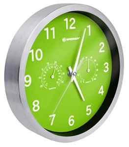Bresser Wanduhr mit Thermometer und Hygrometer MyTime  | grün  |