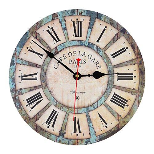 FOKOM Holz Lautlos Vintage Wanduhr Uhr Wall Clock | Vintage |