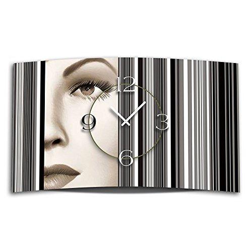 Digital Art Frau Designer Wanduhr modernes Wanduhren Design leise kein ticken DIXTIME 3D-0318 | Digital Art | mehrfarbig | geräuschlose Wanduhr