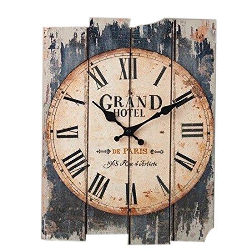FOKOM Holz Lautlos Vintage Wanduhr Uhr Wall Clock ohne Tickgeräusche | Vintage |