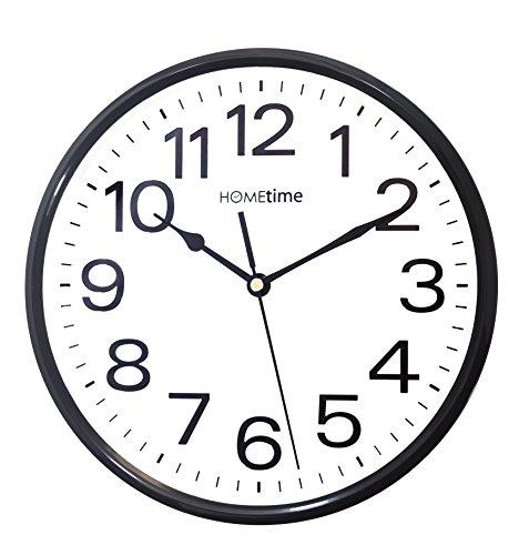 Hometime Klassische Quarz-Wanduhr, geräuschlos, Schwarz/ Weiß | Klassisch | schwarz | Weiß |