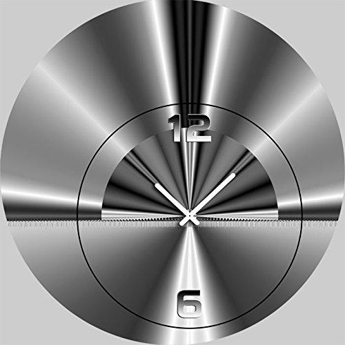5090 Dixtime Designer Wanduhr, Wanduhren, Moderne Wohnraumuhr 50cm Durchmesser | Modern | Silber | geräuschlose Wanduhr