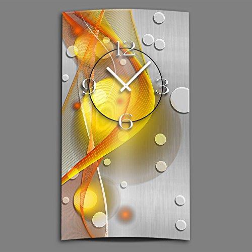 Abstrakt gelb orange hochkant Designer Wanduhr modernes Wanduhren Design leise kein ticken dixtime 3D-0049 | Modern | Gelb | Orange | geräuschlose Wanduhr