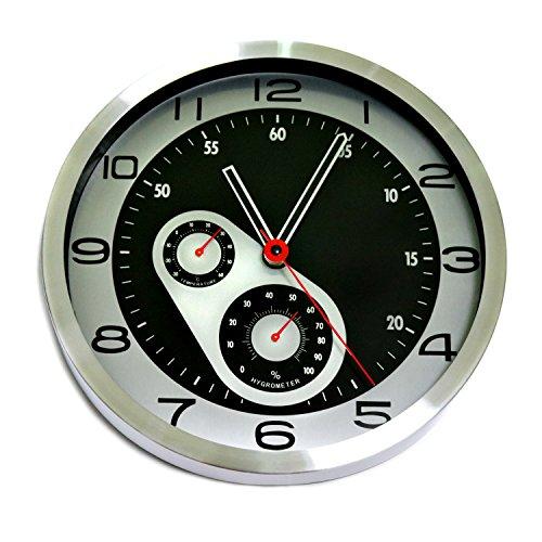 La Viano Wanduhr modern lautlos geräuschlos | Modern | Silber | Temperatur Anzeige | Hygrometer
