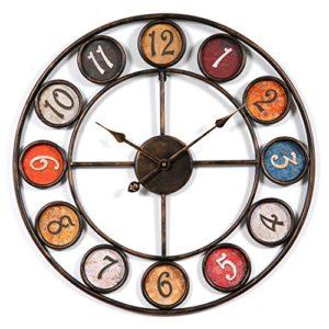 Wanduhr Groß XXL 60 cm  | Mit ihrem Vintage-Look bietet die Uhr eine schöne Wanddekoration für das Zuhause und harmoniert dabei mit verschiedensten Einrichtungsstilen. passt besonders schön in die Küche, in das Esszimmer, Wohnzimmer, Büros, Studios, Cafes, oder aber als erster Blickfang in den Eingangsbereich einer Wohnung