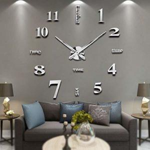Vangold Moderne Mute DIY große Wanduhr 3D oder Wanduhr XXL | Modernes Design für Wanddekoration, Acryl-Spiegelfläche lassen dein Wohnzimmer in stilvoller und moderner Atmosphäre erscheinen